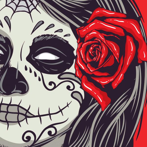 Dia De Muertos Girl Skull T-shirt