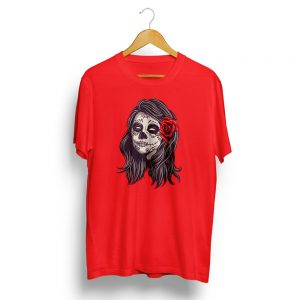Dia De Muertos Girl Skull Red T-shirt
