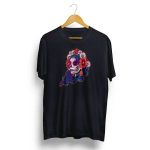Dia De Muertos Day of the Dead Girl Skull Black T-shirt