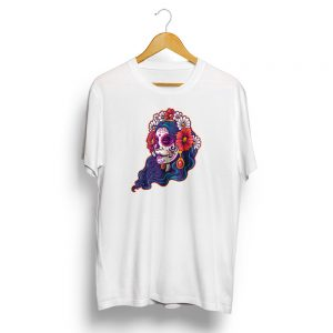 Dia De Muertos Day of the Dead Girl Skull White T-shirt