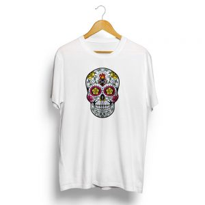 Dia De Muertos Day of the Dead Sugar Skull White T-shirt